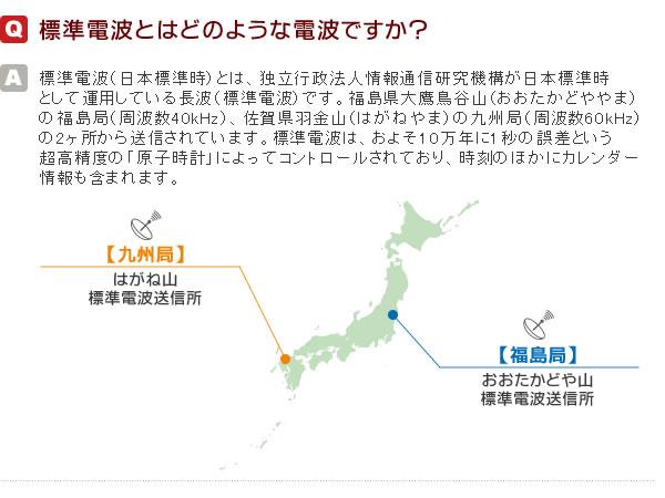 Q1 標準電波とは 独立行政法人情報通信研究機構が日本標準時として運用している長波です