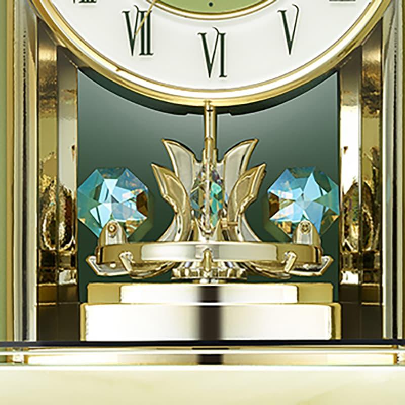 エレガントなデザインの天然石枠の置き時計 記念品や贈り物におすすめ RHYTHM リズム 8RY417HG05 の一方向回転飾り付き