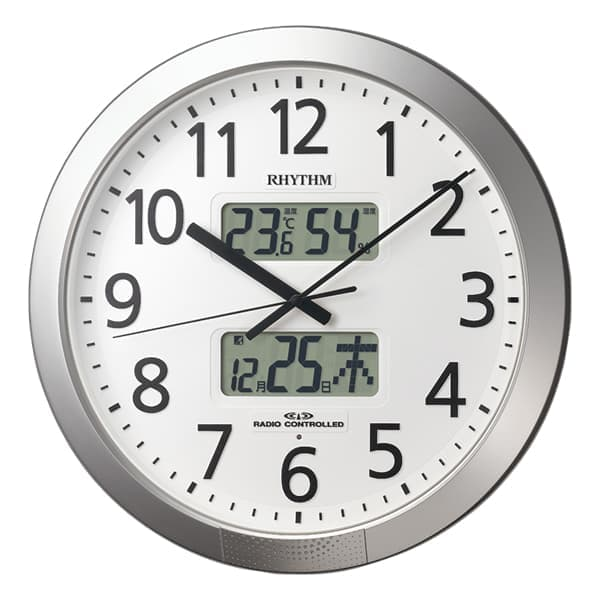 RHYTHM リズム 電波 掛け時計 プログラムカレンダー404SR 4FN404SR19