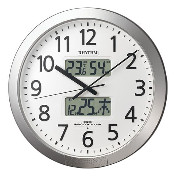 RHYTHM リズム 電波 掛け時計 プログラムカレンダー404SR 4FN404SR19 43cm