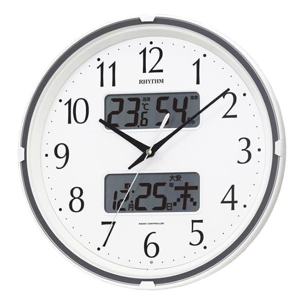 RHYTHM リズム 電波 掛け時計 フィットウェーブリブ 4FYA07SR03 白 35cm
