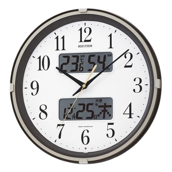 RHYTHM リズム 電波 掛け時計 フィットウェーブリブ 4FYA07SR06 茶メタリック 35cm