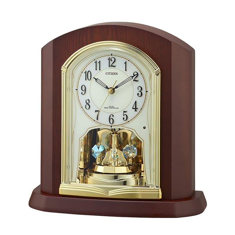 CITIZEN シチズン 回転飾り付き 木枠 電波 置き時計 4RY702-N06