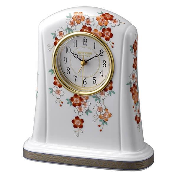 RHYTHM リズム 有田焼磁器枠 置き時計 桜絵(さくらえ)415 4SE415HG01