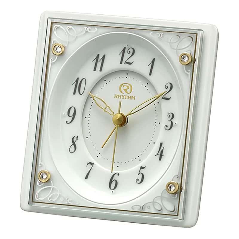 RHYTHM リズム クォーツ置き時計  有田焼磁器枠 白磁【4SE564HG03】