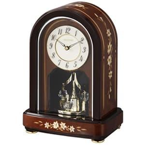RHYTHM リズム クオーツ置き時計 RHG-S70【4sg786hg06】 茶色象嵌(アイボリー)