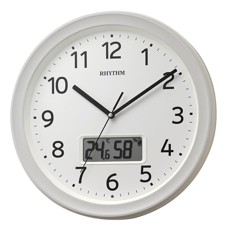 RHYTHM リズム 液晶表示付き 電波 掛け時計 フィットウェーブリブA02 8FYA02SR03 白
