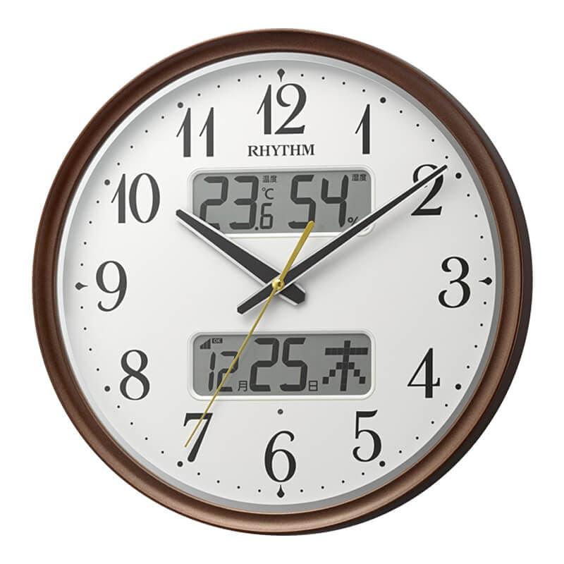 RHYTHM リズム ライト・液晶表示付き 電波 掛け時計 フィットウェーブリブA04 8FYA04SR06