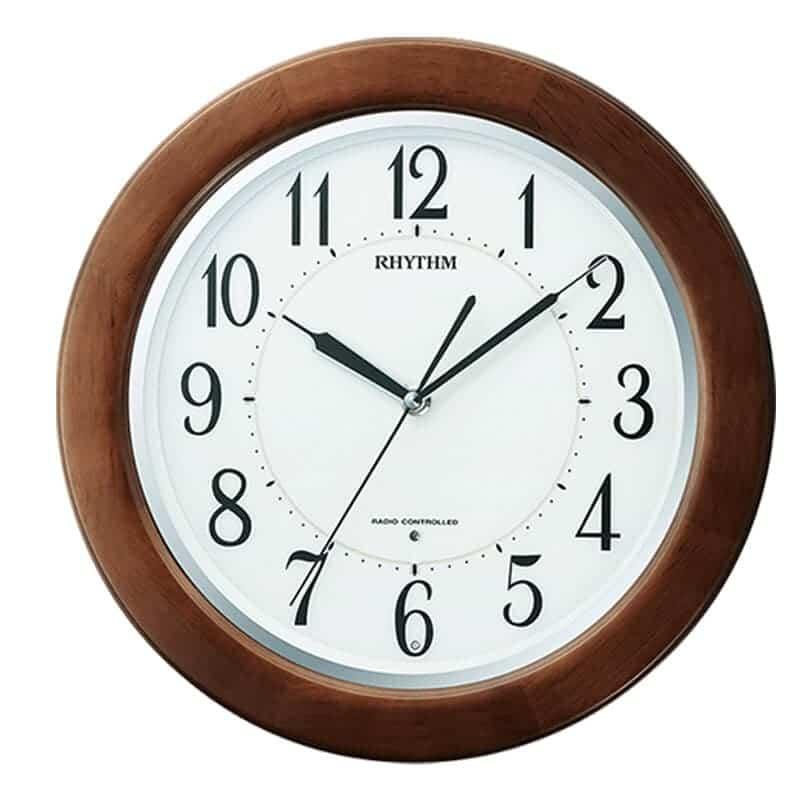RHYTHM リズム 夜光 電波 掛け時計 リバライトF461SR 8MY461SR06 掛け時計 40cm