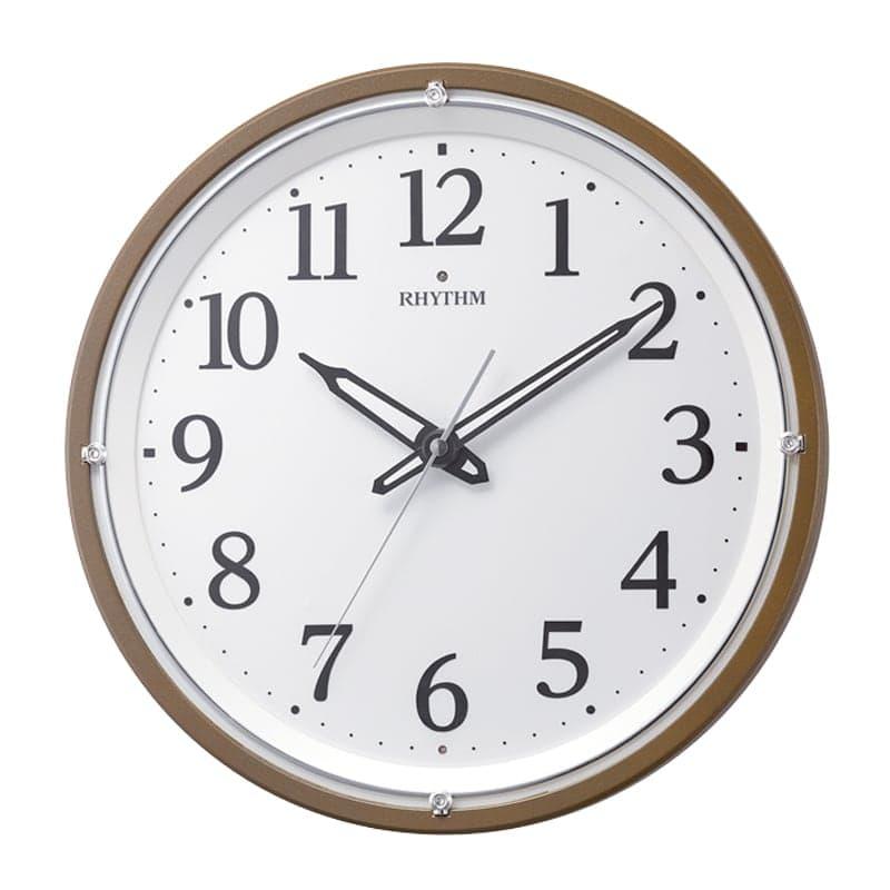 RHYTHM リズム 夜光 電波 掛け時計 リバライト532 8MY532SR06 茶メタリック