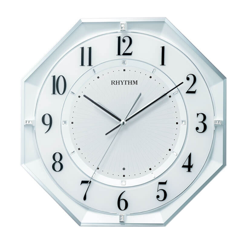 RHYTHM リズム 電波掛け時計 フィットウェーブクールM552 夜眠る秒針 8MY552SR03