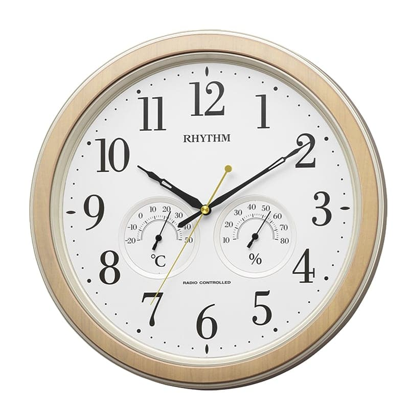 RHYTHM リズム アナログ温湿度計つき 電波 掛け時計 フィットウェーブインフォートM553 8MY553SR23