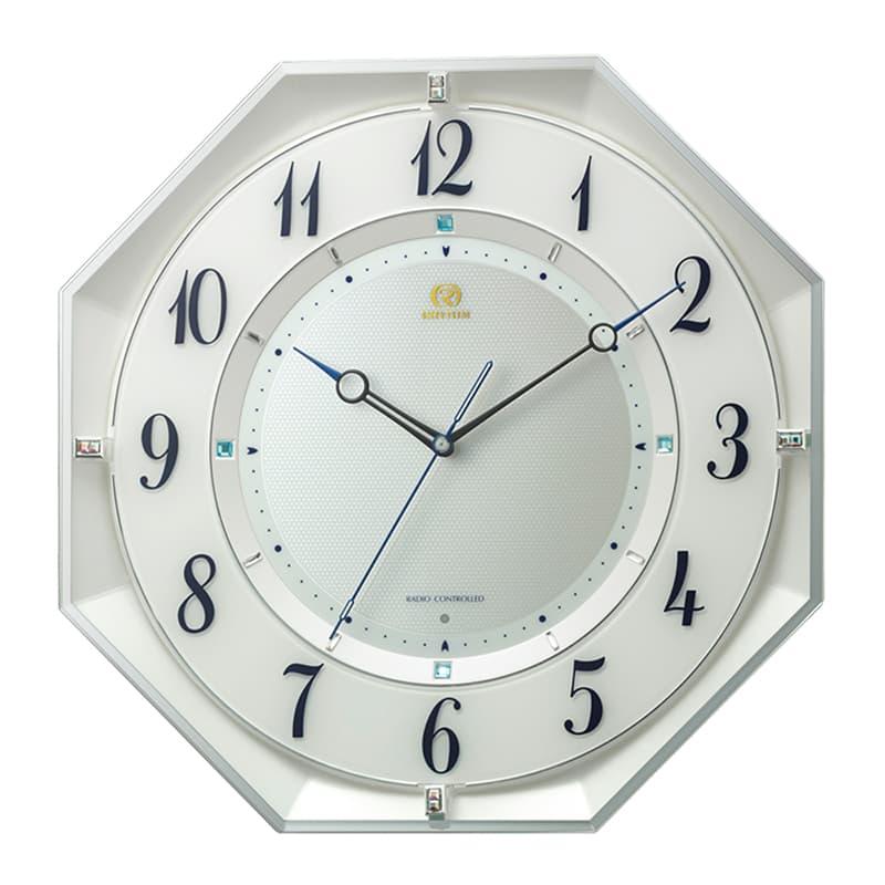 RHYTHM リズム 夜眠る秒針 電波掛け時計 8MY559HG03