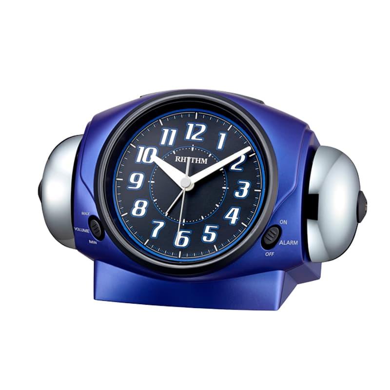 RHYTHM リズム 大音量アラーム 目覚まし時計 バトルパワー646 8RA646SR04 青メタリック色