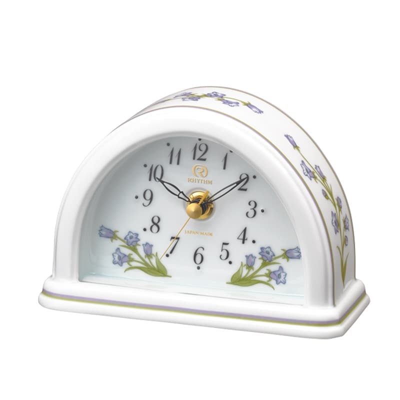 RHYTHM リズム 有田焼 磁器枠 置き時計 つりがね草 感謝 8RG624HG12
