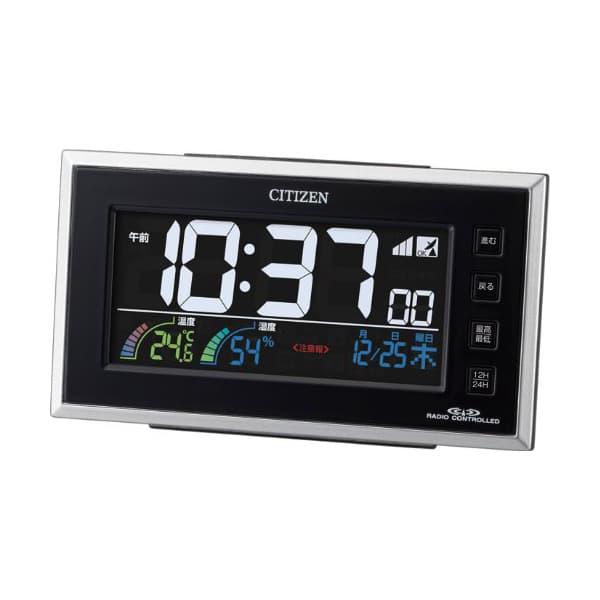 CITIZEN シチズン デジタル 電波 置き時計 パルデジットネオン121 8RZ121002 黒