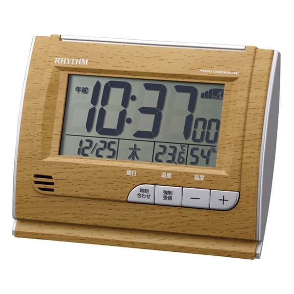 RHYTHM リズム デジタル 電波 目覚まし時計 フィットウェーブD165 8RZ165SR07 茶