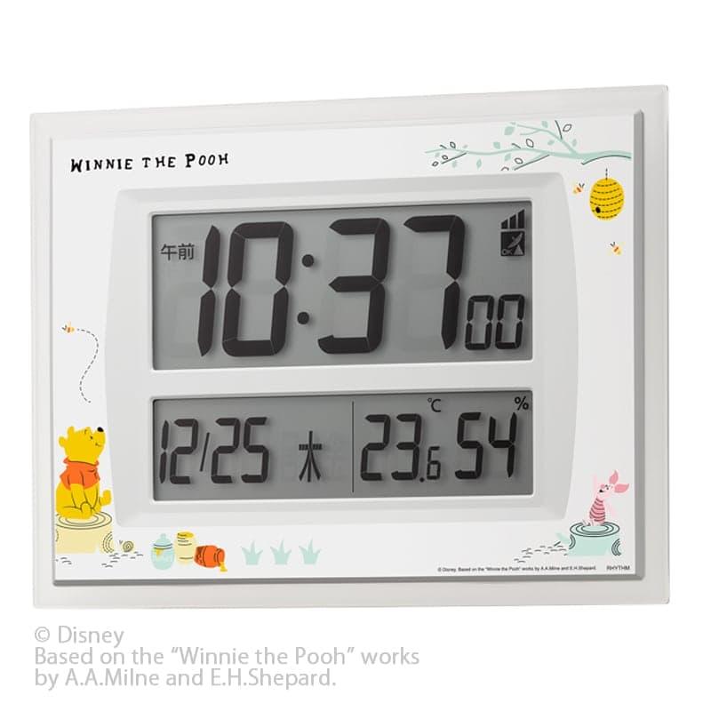 RHYTHM リズム ディズニーキャラクター 電波時計 掛置兼用デジタル/くまのプーさん 8RZ206MC03