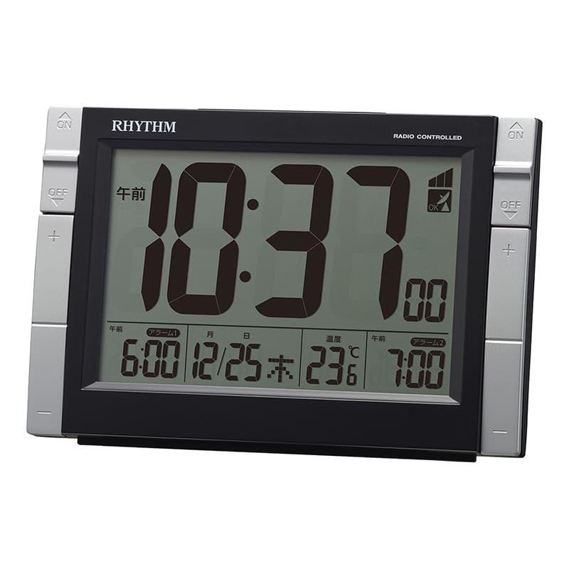RHYTHM リズム デジタル 電波 目覚まし時計 フィットウェーブD223 8RZ223SR02 黒
