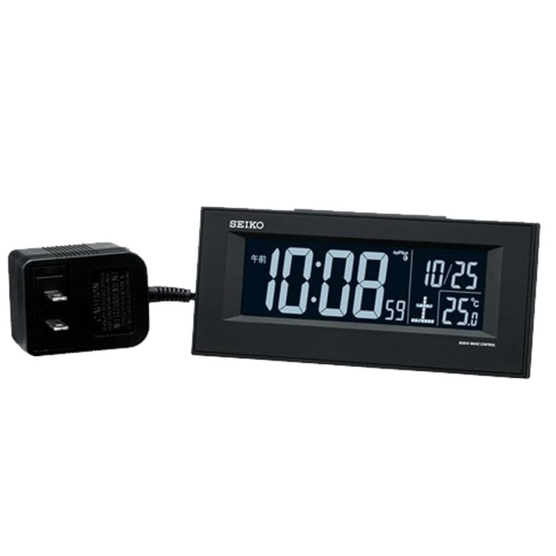 SEIKO セイコー 夜でも見える アラーム付 デジタル電波置き時計 DL209K 黒