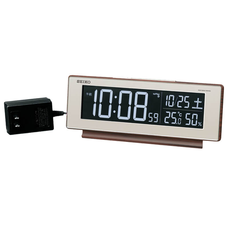 SEIKO セイコー アラーム付 デジタル電波置き時計 シリーズC3 DL211B 茶色