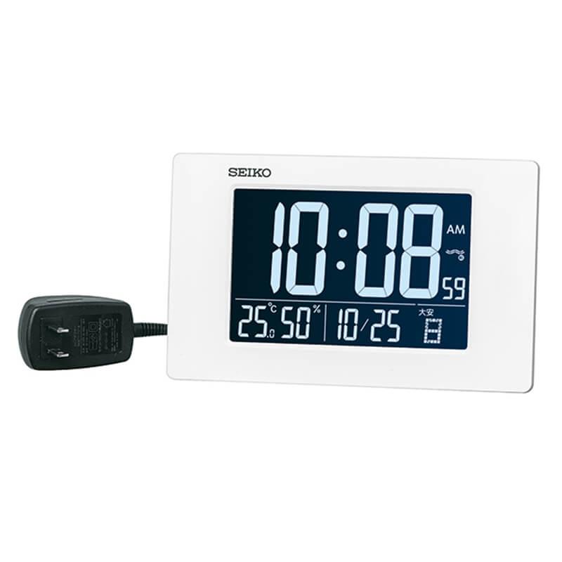 SEIKO セイコー アラーム付 デジタル電波置き時計 DL214W ホワイト