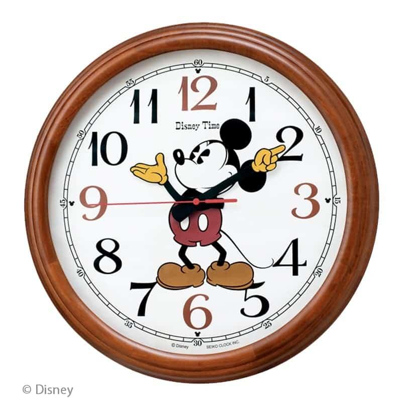 SEIKO セイコー ディズニー キャラクター 木枠 電波掛け時計 ミッキー&フレンズ FW582B 50cm