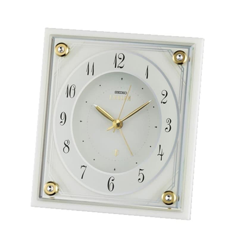 SEIKO EMBLEM(セイコー エムブレム)大理石枠 アラーム付き 置き時計 HR592W 白