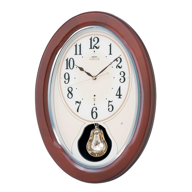 SEIKO EMBLEM(セイコー エムブレム) 木枠 電波アミューズ掛け時計 HS445B 茶