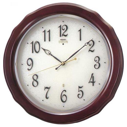 SEIKO EMBLEM セイコーエムブレム シックな木製電波壁掛時計[HS521B]