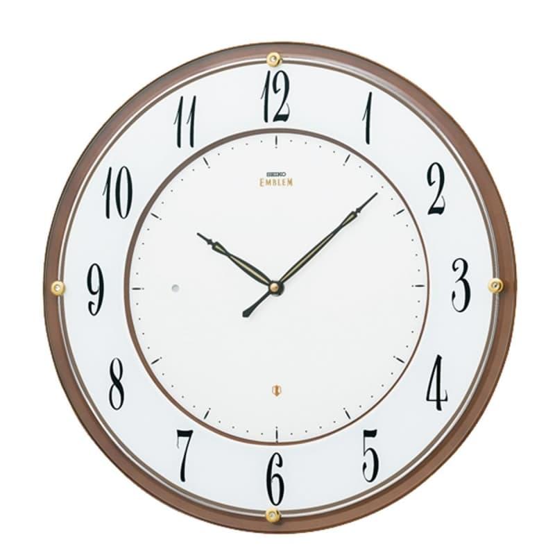 SEIKO EMBLEM(セイコー エムブレム)薄型電波掛け時計 HS548B 茶【グリーン購入法適合商品】
