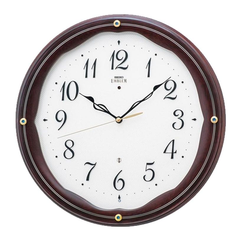 SEIKO EMBLEM(セイコー エムブレム)木枠 電波掛け時計 HS551B マホガニー【グリーン購入法適合商品】