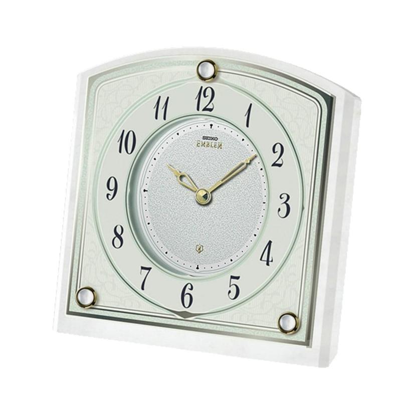 SEIKO EMBLEM(セイコー エムブレム)大理石枠 クォーツ置き時計 HW588W 白