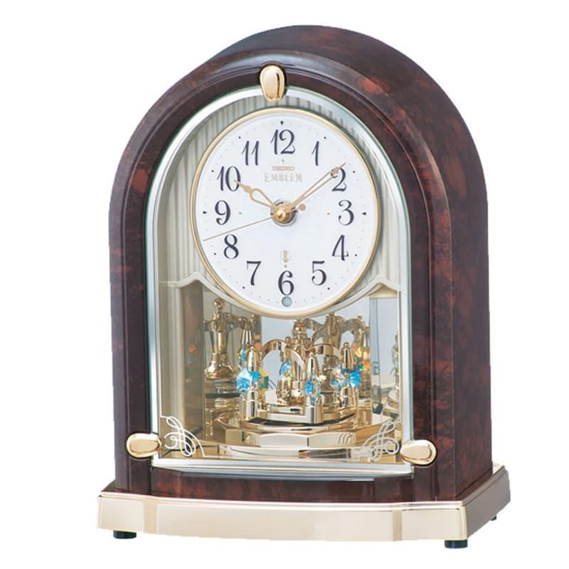 SEIKO EMBLEM(セイコー エムブレム)回転飾り付 電波アミューズ置き時計 hw591b 濃茶