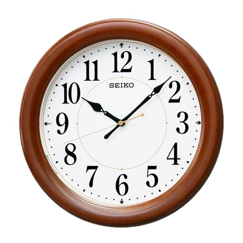 SEIKO(セイコー)木枠 夜光 電波掛け時計 KX204B 茶