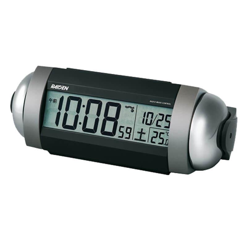 SEIKO セイコー PYXIS 大音量アラーム 電波 目覚まし時計 ライデン NR530S 銀色メタリック塗装