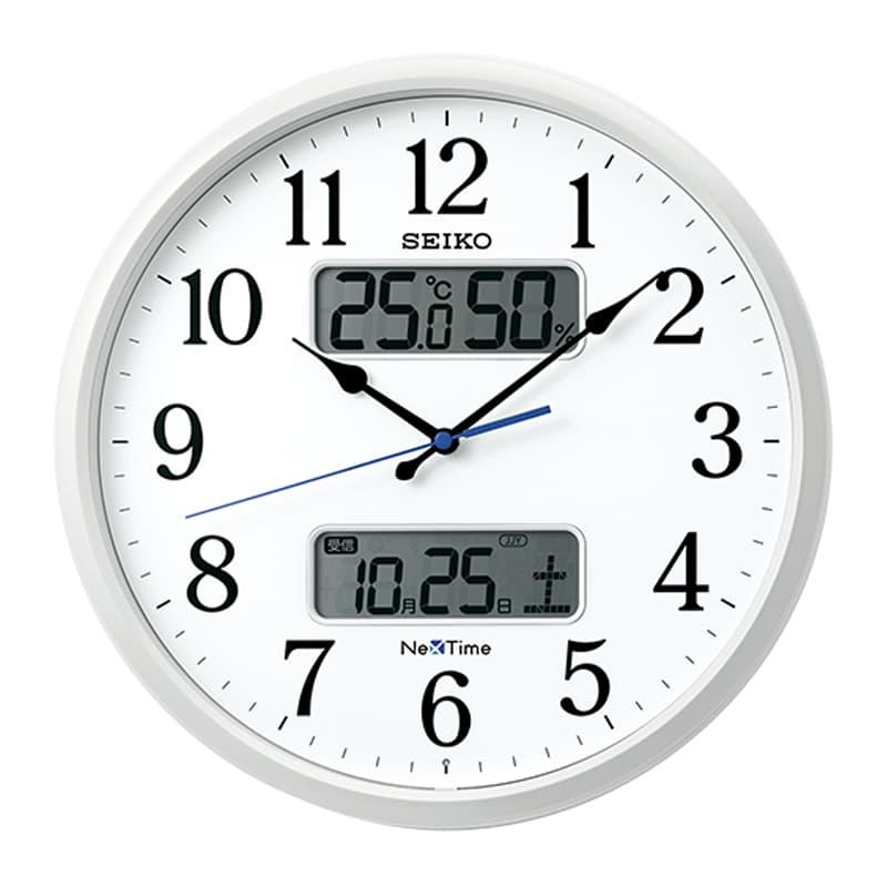 SEIKO セイコー ネクスタイム(液晶表示付)  電波掛け時計 ZS250W 35cm
